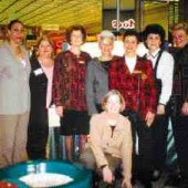 During October, 1998, the Toronto Insurance Women's Association held its annual Insurance Information Week at the Hillcrest Mall, Pickering Town Centre and the Erin Mills Town Centre. Pictured from the Hillcrest Mall are (left to right) Val Lewis, Cheryl Morton, Norma Evans, Pam Skinner, Yvonne Lincoln, Genny Huta and Bonita Kearns; (kneeling in front) Frances McCaul.