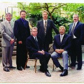 IBAC Executive 2003-2004: (back, from left) Dan Danyluk, CEO; Keith Wilson, president-elect; Bill Schwandt, vice president; Robert Kimball, vice president; (front, from left) Brian Gilbert, chair; Ken Orr, president.