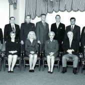 "2003/04 RIBO Board: (standing from left) Byron Moffitt, past president Art Langley, Barry Downs, Al Hawco, CEO Jeff Bear, Hassan Jaffer, president Rod Finlayson; (seated) secretary Elsie ""Toots"" Everley, Joanne Brown, Caroline Benedict, Gloria Shan, vice president Jack Baizana, treasurer Bonnie Warder."