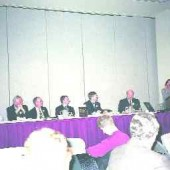 From left: Gordon Rasbach, Bob Carter, Jim Eso, Norm Groot, Keith Edwards, mediator Brian Maltman, Ann Cavoukian