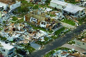 Devastation caused by Hurricane Charley in Punta Gorda, FL.