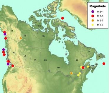 Significant historic earthquakes in Canada (Insurance Bureau of Canada)
