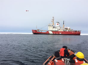 Photo Legend: The Government of Canada tests unmanned aerial vehicle from the flight deck of the CCGS George R. Pearkes.