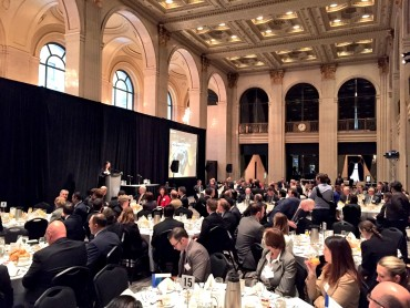 Swiss Re's Veronica Scotti addresses attendees of the 2016 Canadian Insurance Outlook