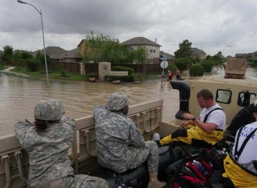 Soldiers with the National Guard work alongside local and state first responders in Brookshire, Texas, April 20, 2016, following severe flooding. Photo by First Lieutenant Zachary West, United States Army National Guard