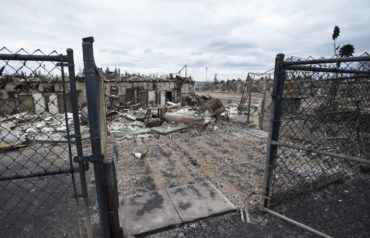 The burnout remains of a home in the Abasands neighbourhood is seen during a media tour of the fire-damaged city of Fort McMurray, Alta., on Monday, May 9, 2016. THE CANADIAN PRESS/Jonathan Hayward