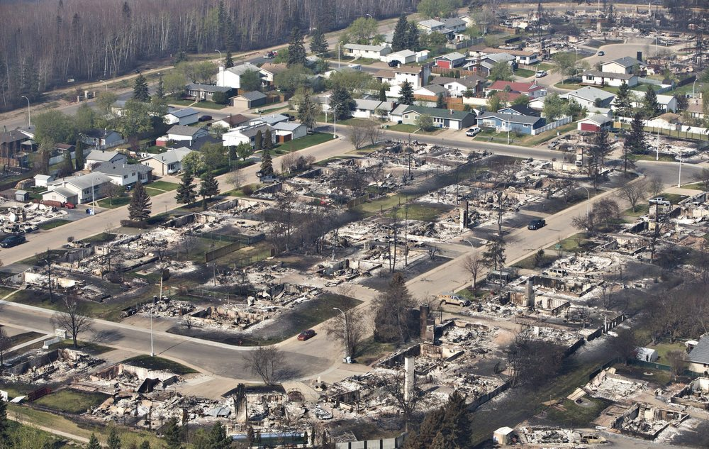 A devastated neighbourhood is shown in Fort McMurray, Alta., on Friday, May 13, 2016. THE CANADIAN PRESS/Jason Franson