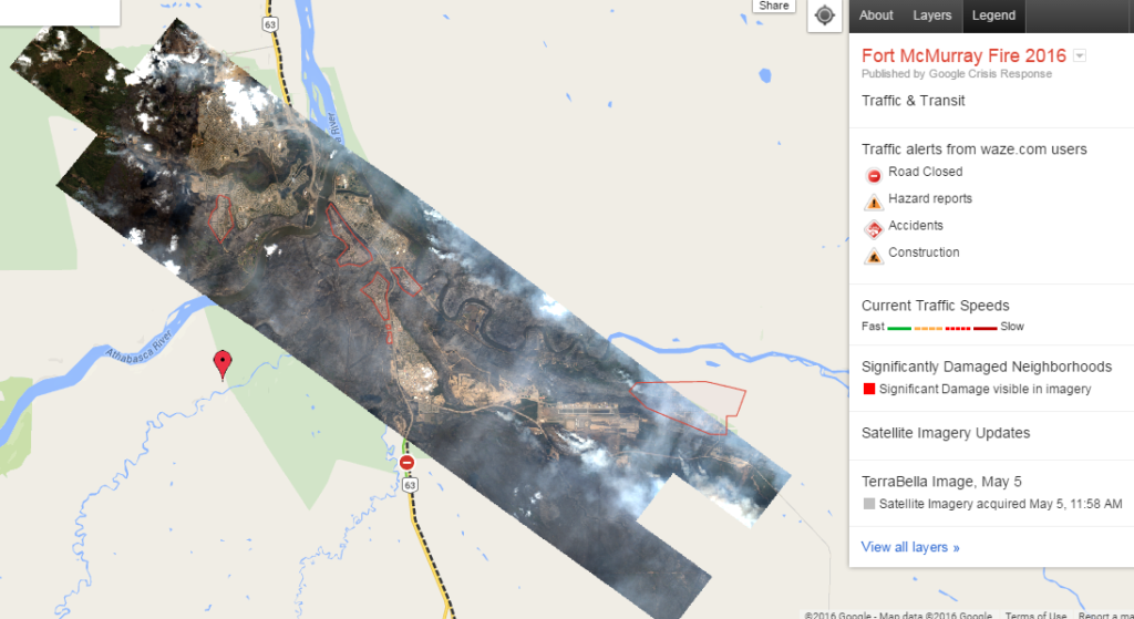 Google Crisis Map Fort McMurray-