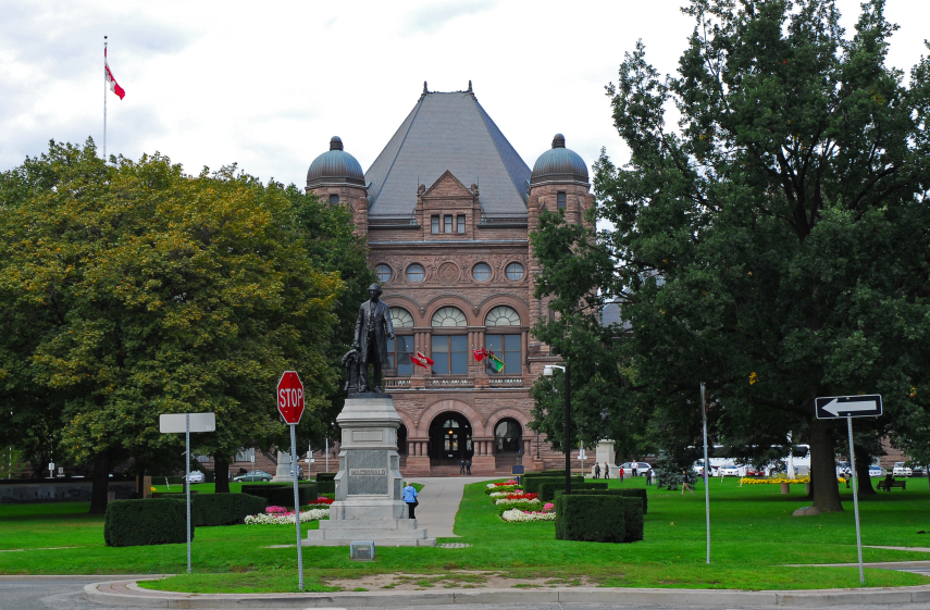 Ontario legislature at Queen's Park in Toronto, Ontario government