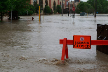Sidewalk closed due to flooding