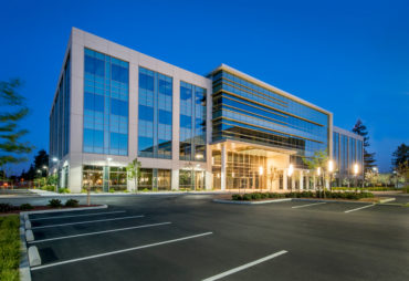 Evening Shot of a New Office Building, California