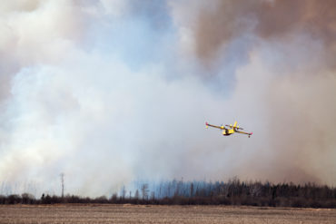 Fire fighting aircraft deployed to the Canadian Prairies.