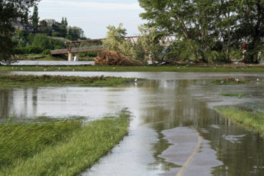 Bicycle path in flood