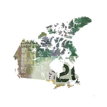 Map of Canada in 20 canadian dollar bill