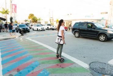 Miami Wynwood Woman Crosses Street on Hoverboard