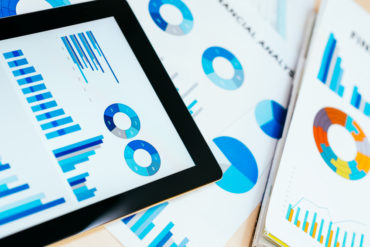 Business concept with stock market charts, business and investment analysis