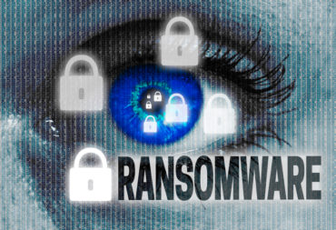 ransomware eye looks at viewer concept