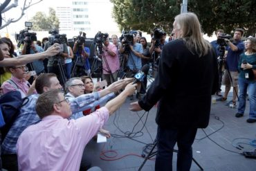 "Michael Skidmore, trustee for Randy Wolfe, the late member of the band Spirit, speaks at a news conference outside federal court in downtown Los Angeles on Thursday, June 23, 2106. A jury found Thursday, that the band Led Zeppelin did not lift a passage from the Spirit song ""Taurus"" for the intro to their rock classic, ""Stairway To Heaven."" (AP Photo/Nick Ut)"