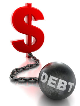Dollar tied to ball and chain of debt - isolated