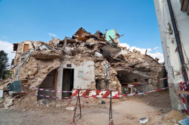 A building destroyed in 2009 by an earthquake in L'Aquila, Italy, 45 kilometres from the area hit by another tremor Aug. 24, 2016