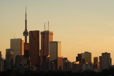 Toronto skyscrapers & skyline at sunset
