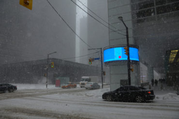 financial district under snowstorm