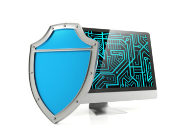 Shield and computer screen, computer security concept