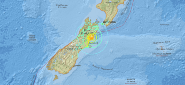 USGS map of the magnitude 7.8 earthquake in New Zealand on November 13, 2016.