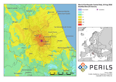 Map of seismic activity for Central Italy earthquake