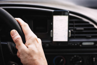 Using a smartphone to navigate the car