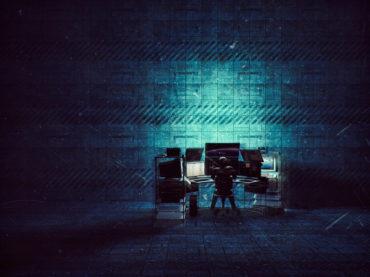 Hacker in empty warehouse, sci-fi, future, computer, crime