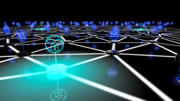 The internet of things network with a glowing blue node symbolizing social interaction 3D illustration
