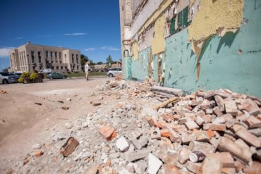 The downtown of Goderich, Ontario still shows scars on the eve of the one year anniversary of an F3 tornado which ripped through the heart of the lakeside community August 21, 2011. THE CANADIAN PRESS/ Geoff Robins