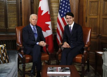 Prime Minister Justin Trudeau meets with US Vice-President Joe Biden on Parliament Hill in Ottawa on Friday, December 9, 2016. The vice-president is scheduled to sit down later today with Canada's premiers and territorial and aboriginal leaders, who are gathered in Ottawa for a day-long first ministers meeting to talk about climate change and health care. THE CANADIAN PRESS/ Patrick Doyle