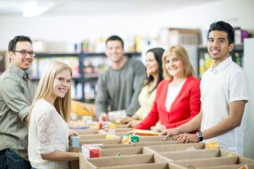 Families Volunteering at Food Bank