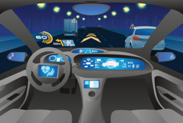 Automobile cockpit, various information monitors and head up displays.