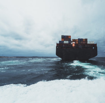 Container Ship Nearing Harbour