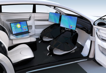 Business meeting concept in autonomous car