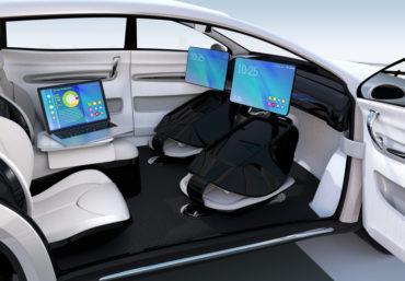 Business meeting concept in autonomous car