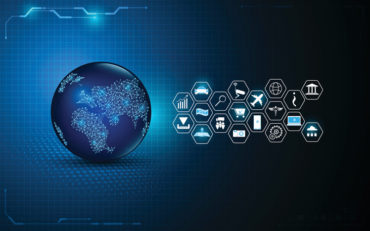 abstract global digital technology with internet of things icon