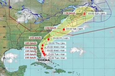image relating to Printable Hurricane Tracking Map titled Hurricane Dorians projected way into Canada Canadian
