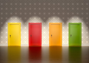 colored doors in a room representing the concept of choice