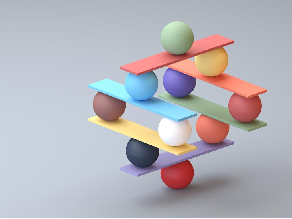 Seesaw balance balls concept