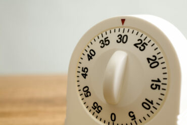 Kitchen timer on wooden counter