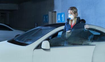 Women in an underground parking lot