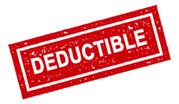 The word deductible in red stamp